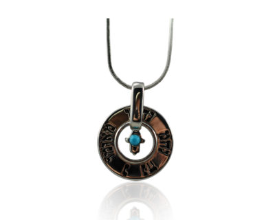 "Rhodium with Turquoise stone   ""Na Nach"" ring necklace"