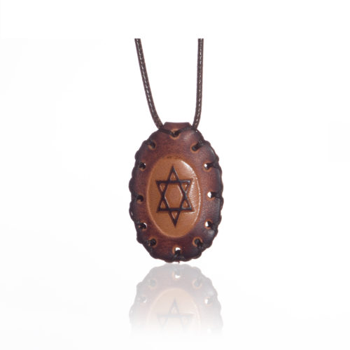 breslov shop nanach amulet -kamea leather with david star round