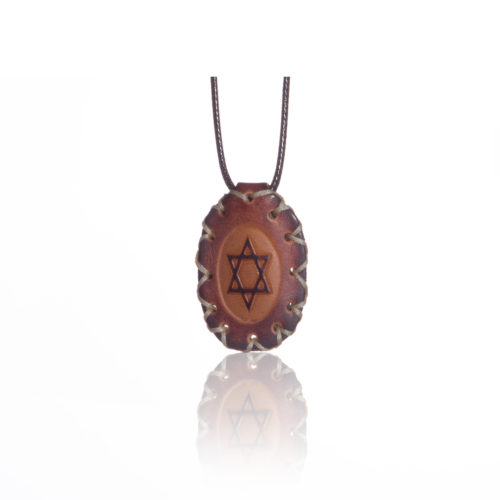 breslov shop nanach amulet -kamea leather with david star round white string
