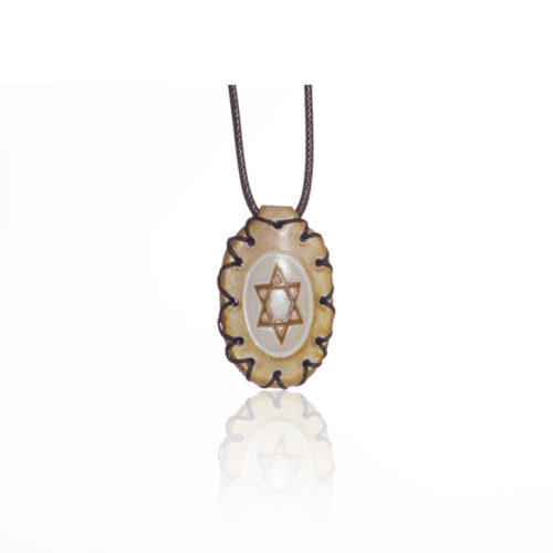 breslov shop nanach amulet -kamea white leather with david star